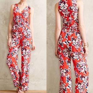 Yumi Kim red floral silk jumpsuit XS